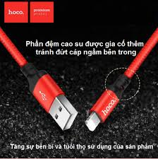 Cáp sạc Hoco X14 1m Lightning iphone SẠC NHANH bọc dù CHÍNH HÃNG cực bền